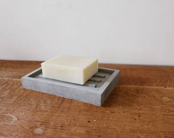 Handmade Concrete Soap Dish // Cement Soap Tray