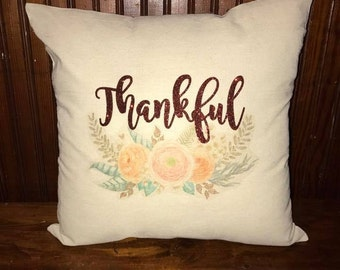 Canvas Pillow, Thankful