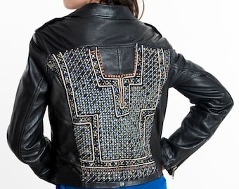 TIA Embroidered Leather Jacket
