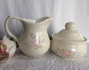 Vintage Stoneware Pfaltzgraff Tea Rose Creamer and Sugar Set, Cottage Decor, Shabby Chic, 1980's