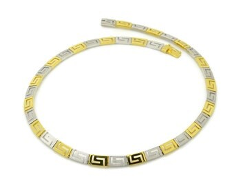 Two Tone Greek Meander Necklace Gold , 14K Solid Gold Necklace, Greek Key Necklace, Yellow White Gold Necklace, Greek Key Necklace Jewelry