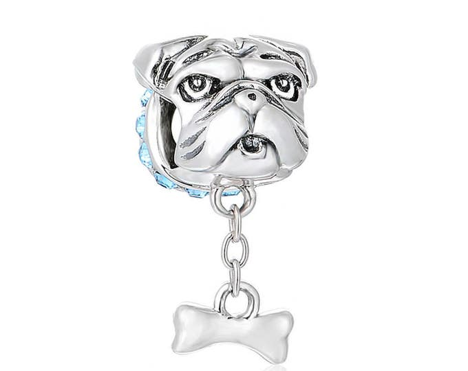 Bulldog Charm Fits European Charms Bracelet 925 Sterling Silver