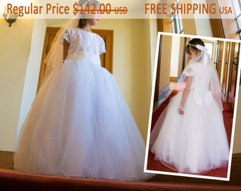 Embroidery Sequin Mesh Adjustable Bust Waist Full Length White Dress Gown 7-16, Crystal Mesh Veil, Pageant Wedding Confirmation, Communion