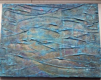 Canvas 40 x 30 acrylic paintings turquoise Brown nature brittle cracks painting desert