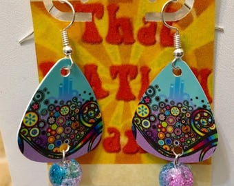 That NATION Band Circles Guitar Pick Earrings with Beads