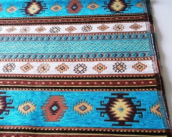 FedEx!!!by the 5 Meters,Yards,Chenille,Jacquard, Ethnic,Turkish,Ottoman Chenille Upholstery Fabric,Velvet Fabric,Kilim Fabric,Cream,Turqoise