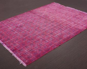 Turkish Vintage Overdyed Rug ,Carpet ,Anatolian Vintage area rug -wool rug-Handmade,Pink 220x322=7.08 m2,7x11 ft