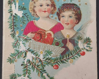 Vintage Christmas Postcard Christmas Greetings Posted 1908 Made in Austria Children Angels Cherubs