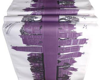 Purple table runner- Street Table decoration - Cotton table runner - On the Street - Deep Purple -  Design led