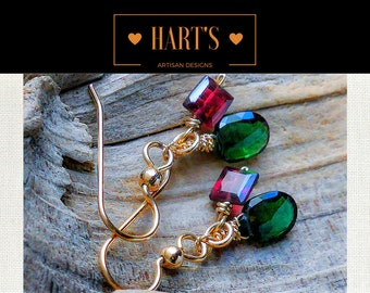 Green Tourmaline Red Garnet 14K Gold Earrings