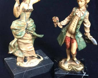 Pair of genuine vintage fontanini depose of Italy figures on genuine marble plymths in fantastic condition