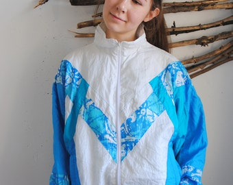 Vintage windbreaker 1990s 1980s womens sport jacket
