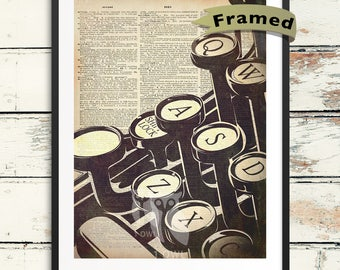 Vintage Typewriter Dictionary Framed Art Print. Writer Art with Dictionary Page Background for Novelist, Poet, or Author Gift.