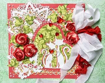 Carte faite main , pour la saint Valentin