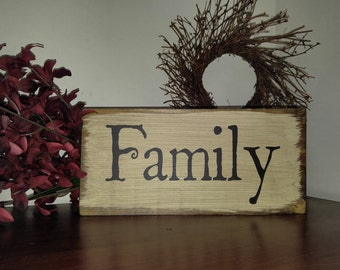 Family sign, wood sign, family decor, shelf sitter sign, hanging sign