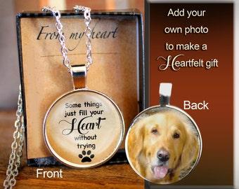 Custom Pet Necklace, Dog Pendant, Dog Memorial, Double Sided, Reversible, Photo Pet Charm, Pet Charm, Puppy