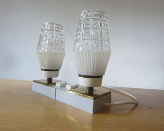 Mid century modern 60s design pair bedside lamps