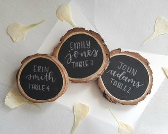 Custom rustic place card wood slices w/ chalkboard finish