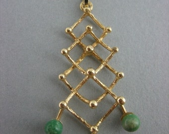 Gold 14k. pendant with pearl and malachite 2 x...Years 30!
