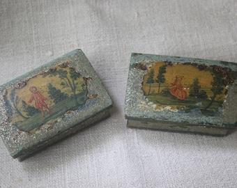 Pair of 18th century arte povera boxes