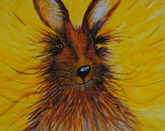 Sunshine Bunny - Original signed Water Colour Painting of Rabbit - by Sally Marshall