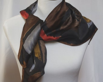 Vintage Anne Klein Scarf, Silk Scarf, Large Scarf, Square Scarf, Black Scarf, Head Scarf Hair Wrap, Head Covering, Fashion Scarf, Neck Scarf
