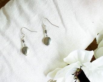 Silver Disc Dangle Earrings