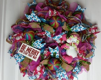 Christmas in July Sale,Neon Multicolored Deco Mesh Snowman Christmas Wreath