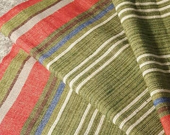 Swedish Handwoven Striped Tablerunner Linnen and Cotton