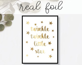 Twinkle Twinkle Little Star Real Gold Foil Print - Art Print, Gold Foil Art Print, Gold Home Decor, Gold Wall Art, Gold Print, nursery