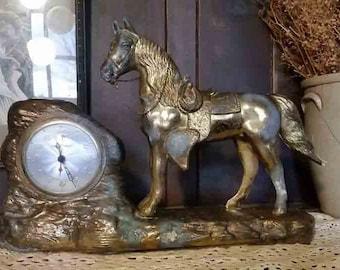 Vintage Bronze Horse Clock