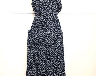 80s/90s Deep V Black & White Rose Dress