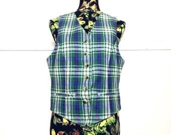 VTG 70s Green Plaid Vest