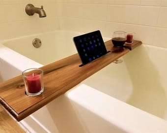 Wine Glass Holder and iPad/Tablet Stand Bath Caddy