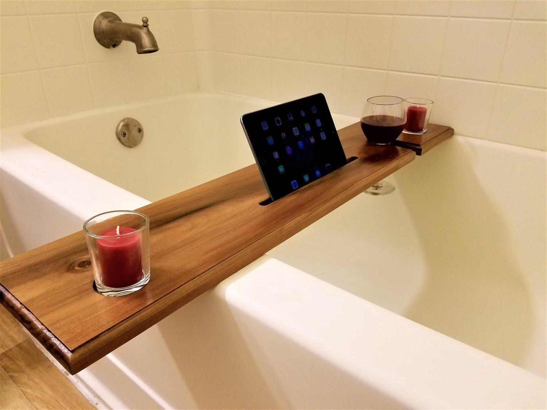 Wine Glass Holder And Ipad Book Stand Notch Bath Caddy