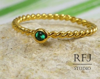 Twisted Lab Emerald Yellow Gold Ring, May Birthstone 24K Gold Plated 2 mm Green Cubic Zirconia Rope Ring, Green Emerald Ring, May Jewelry