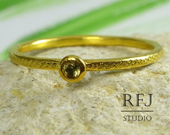 Natural Peridot Gold Dainty Textured Ring, 24K Yellow Gold Plated 2mm Round Cut Genuine Green Peridot, August Birthstone Stacker Gold Ring