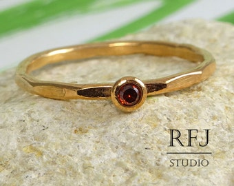 Faceted Lab Garnet Rose Gold Ring, 14K Rose Gold Plated Dark Red 2 mm CZ January Birthstone Ring Stacking Rose Gold Garnet Birthstone Ring