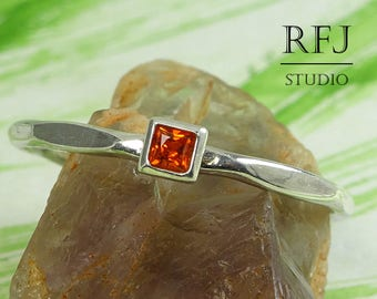 Square Lab Spessartine Garnet Faceted Silver Ring, Princess Cut 2x2 mm Red Orange CZ Ring Square Setting Promise Stack Spessartite Gift Ring