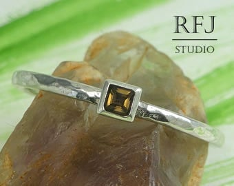 Square Natural Smoky Quartz Hammered Silver Promise Ring, 2x2 mm Princess Cut Smokey Quartz Ring Square Setting Tiny Engagement Stacked Ring