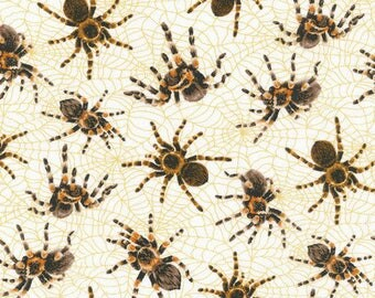 """In stock - New Spiders Fabric: Fabri-Quilt You Bug Me Spiders All Over on Blue 100% Cotton Fabric by the yard 36""""x43"""" FQ24"""