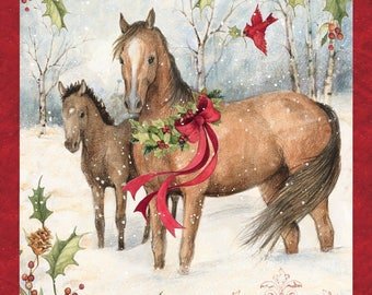 "Christmas Fabric, Horse Fabric: Horse Panel Christmas Scenic with Holly Berries and Snow 100% cotton fabric by the PANEL 35""x43"" (SC167)"
