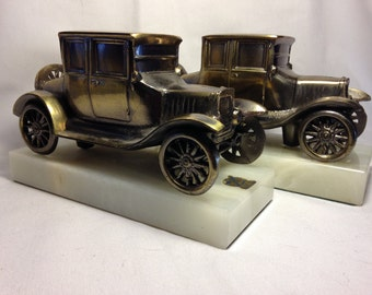 Vintage Brass Car Bookends with Onyx Stand