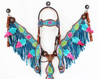 Purple Turquoise Hand Painted Floral Fringe Bling Western Leather Cowboy Show Horse Bridle Headstall Breast Collar Tack Set