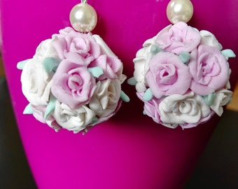 Pink and White Roses Earrings polymer clay, czech glass beaded