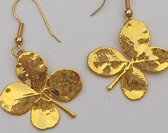24 kt Gold Plated Real 4 Leaf Clover Earrings