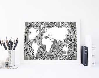 World map  - World Map Print - Mandala Wall Art - Wall Art - Home Decor - World Map Art - World Map Poster - Large World Map - World Map