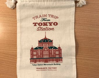 Travelers Factory Tokyo station edition limited cotton drawstrings pouch