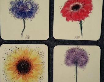 Set of 4 flower coasters // flower coaster set // floral coaster set // sunflower coaster // allium coaster // colourful flower coasters
