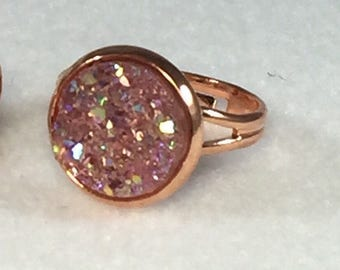 Pink Druzy Ring - Drusy Ring - Druzy Jewelry - Promise Ring - Statement Ring Pink - Drusy Jewelry - Druzy Jewelry Trend